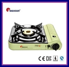 Duble flame brass burner portable gas stove with stainless steel cartridge cover