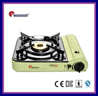 Portable gas stove double flame brass burner stainless steel cartridge cover