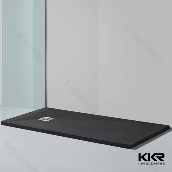 Customized acrylic solid surface black stone resin shower tray