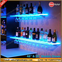 3' LED Lighted Floating Bar <strong>Shelves</strong> with Integrated Wine Glass Rack