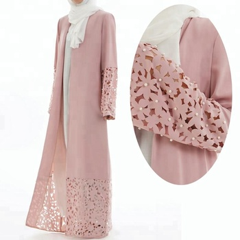 2019 high quality Islamic Women Open Abaya Pearl Kimono Cardigan