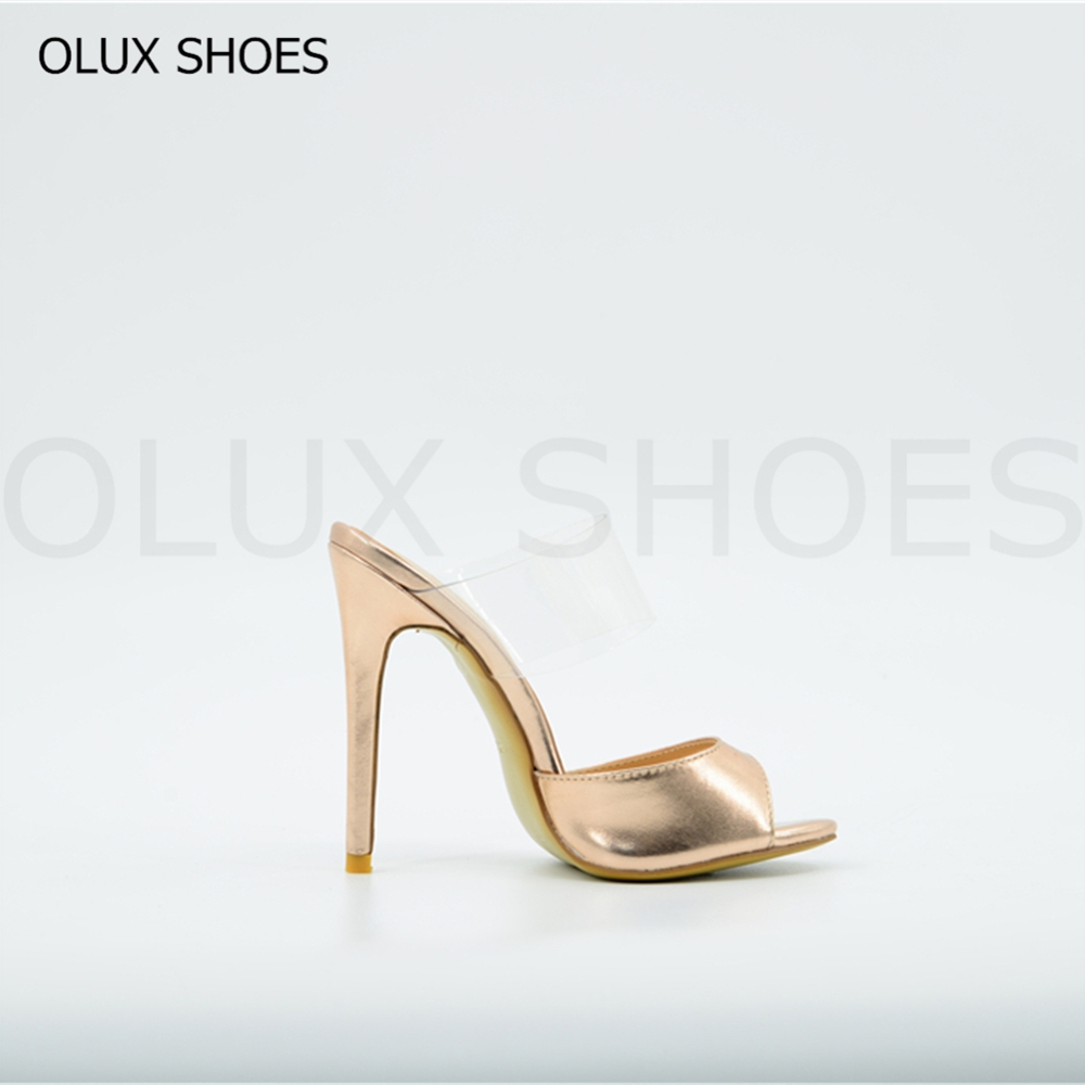 OLUX860 Ladies High Heel Peep-toe PVC Fashion Sandals