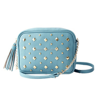2016 hot selling ladies sky blue PU mini cross body bag CL10096