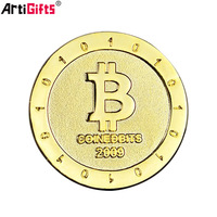 Wholesale Custom Bulk Blank Cheap Commemorative Plated Gold Bitcoin Coin
