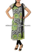 Newly White Chiffon Casual Green FLowering Designer Kurti 2016