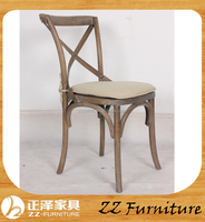 French style classic dining chair wooden antique x chair with cushion seat