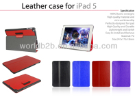 PU Leather Case For iPad air ,for ipad 5 With Touch Pen slots with stand