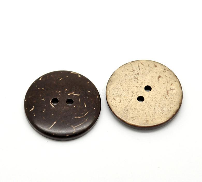 High Quality 25mm Round Brown Two Holes Coconut Shell Sewing Buttons in Bulk