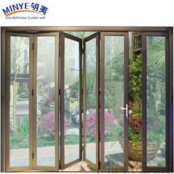 CHINA SENIOR SUPPLIER METAL COLOR ALUMINUM PROFILE TINTED GLASS INWARD SWING FOLDING DOOR