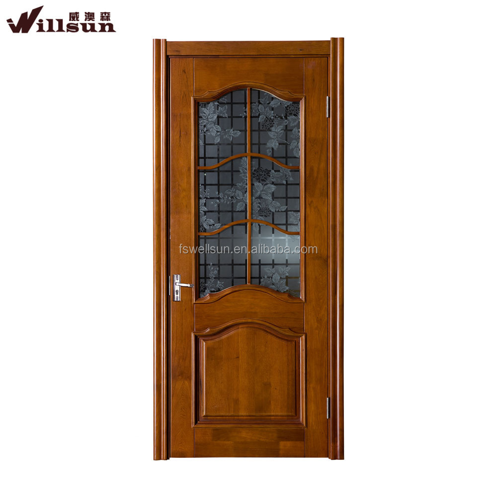Latest design half frosted flower glass interior wooden door shower with hinges