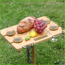 Picnic Table Outdoor Wine Holder Bamboo Table, Holds 4 Glasses, Collapsible, Portable/Homex_factory/BSCI