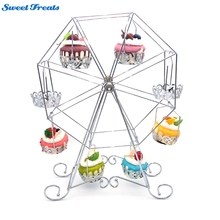 Sweettreats Ferris Wheel Cupcake Stand - Rotating Dessert Holder Station Tower - Spinning Cupcake Tray