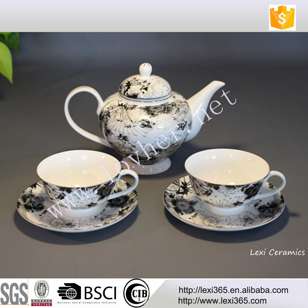 Black and sandy silver Bone China 2 person sets Fine porcelain coffee tea sets for tea coffee