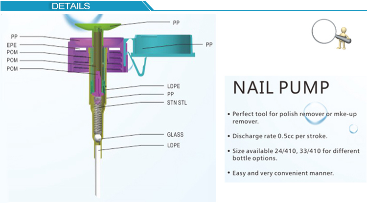 Durable using low price nail polish manicure nail pump