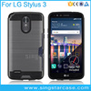 Hair Line Rugged Hard Case & Card Slot For LG Stylus 3 Case Cover
