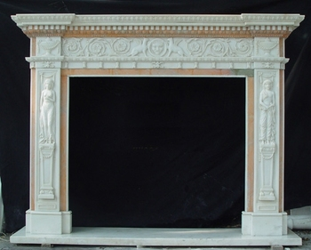 Carved Statues Type White Marble Fireplace