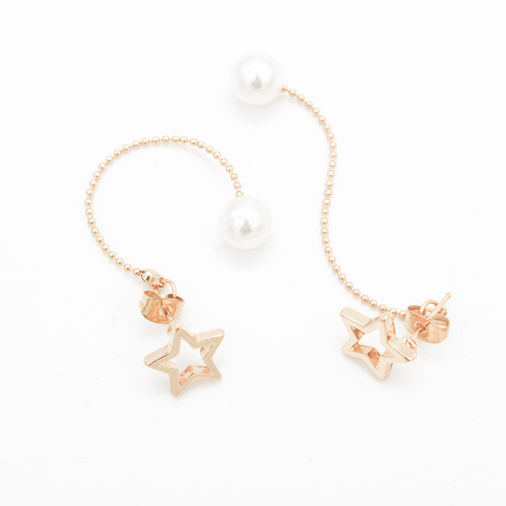 Plated Gold Fashion Lady Earrings Silver Star Style Gold Star Pear Hammered Pendant Charm Ear Studs