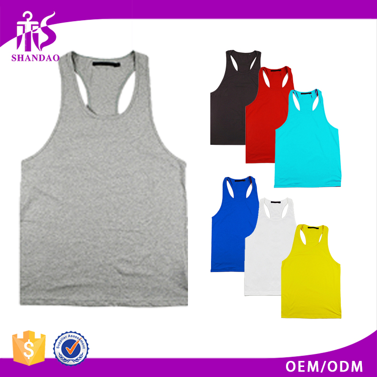 Guangzhou Shandao OEM Wholesale Casual Summer 95% Cotton 5% Spandex Breathable Fitness Men Bulk 1 Dollar Tank Tops