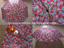 2012 flower design 2 foldable umbrella for gift