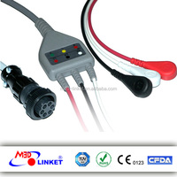 Compatible GE Medical One-piece ECG Cable 3 Leads for 2000 7000 Series Tram AR, Snap AHA Standard with CE and FDA approved