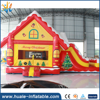 High Quality Christmas decoration inflatable bouncer with slide for sale