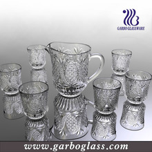 New Designed All clear water pitcher and juice drinking glasses set of 7 , 7pcs glass drinking acrylic water pitcher set