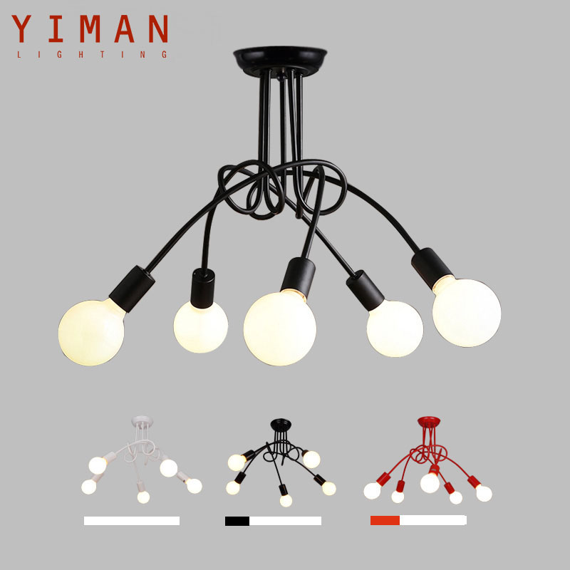 Creative Black & white 5 holders E27 with bulbs ceiling lamp vintage personality modern brief led ceiling light