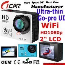 "New design , HD1080p WiFi Waterproof Sport dvr Ultra-thin design 2.0""LCD Go - pro size Action camera"