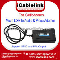 Newest Micro USB to AV Converter MHL Adapter With AV Output For Samsung, HTC, SONY Cellphones