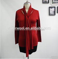 New Design 100% Merino Wool V-neck Blouse for Promotion