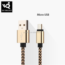 Factory Price Colorful Metal braided Data Micro Usb Cell Phone Cable for Android Mobile Phone