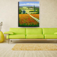 Classic-maxim rimless flower scenery handpainted oil painting on canvas