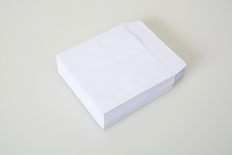 white paper CD/DVD sleeve with window custom colour