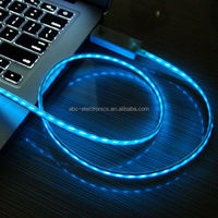 LED Flowing Current Micro USB Cable LED VISABLE LIGHT DATA CHARGER CABLE for Samsung Galaxy S3 S6