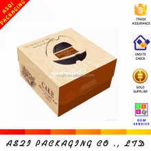 E corrugated cardboard logo personalized cake boxes with handle