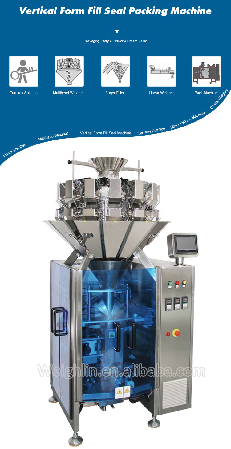 Vertical form-fill-seal packing machine film former with multihead weigher packing machine for 3side bags 4side bags