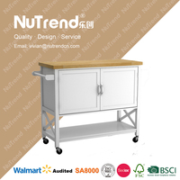 High quality wooden kitchen hand cart with wheels big cabinet design