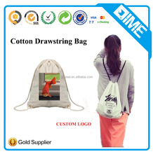 Wholesale Cheap Eco White Cotton Canvas Muslin Fabric Kids Drawstring Bag