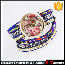 Factory Cheap Multi Layer Leather Wrist Colorful Diamond Inset Women Watches