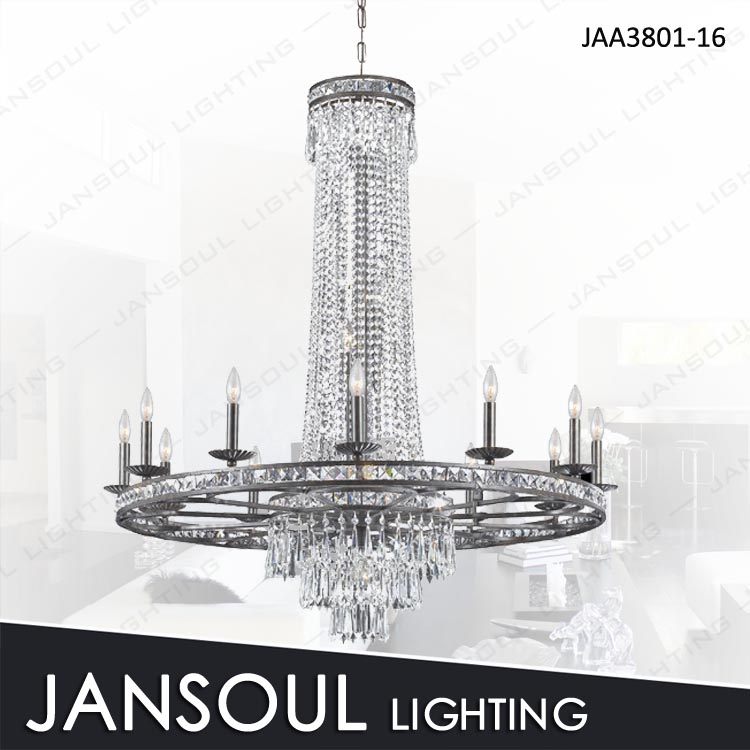 large silver modern hanging pendant light fixture with crystal