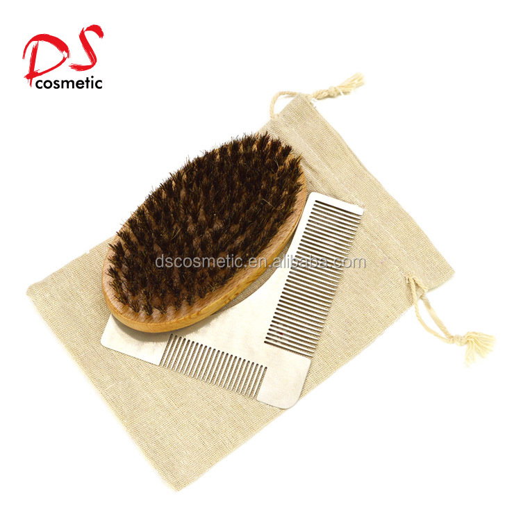 Dishi 100%Natural wood pure wild boar bristle beard brush and wood comb set