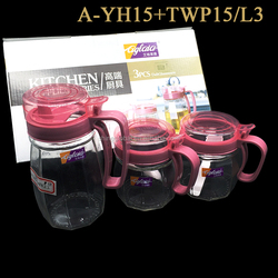 3Pcs Glass Oil Pot And Cruet Set With Handle And Lid