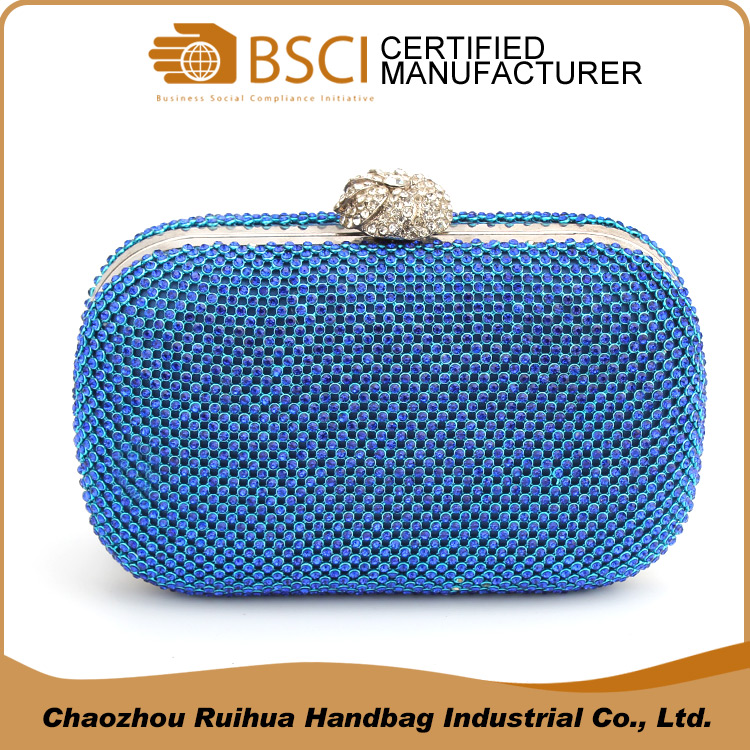 Ladies aluminum party clutch bags shiny crystal stone evening bag