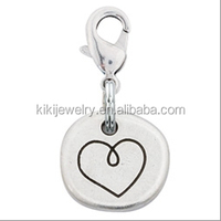 wholesale puppy love pewter heart charm