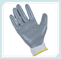 top quality-13gauge seamless white nylon liner nitrile safety gloves,Interlock gray Fully Coated Nitrile Safety Gloves