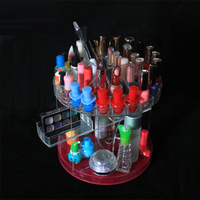 New Products Factory Plastic Clear Lucite Beauty Vanity Acrylic Deluxe Revolving Cosmetic Makeup Eyeliner Display Case