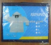 pvc rainjacket/raincoat/rain gear with corduroy collar & cuffs