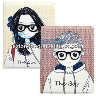 Fashion Design 3D Case Cover Boy and Girl Fancy Case for iPad 3 /for ipad 2