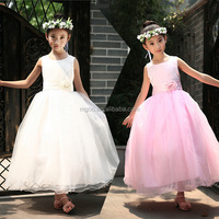Mew White Girl Flowers Ball Gown Dresses Party Long Tutu Dresses Sleeveless Zip Up Back Bow Dresses For Wedding