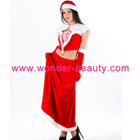 2015 new products christmas Cheap Red Elegant Womens Christmas Slit Tube Strapless Santa Costume Adult Kostuum Free shipping